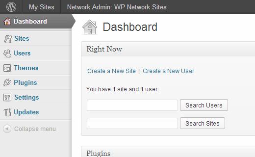 Приборная панель администратора в многоузловой сети WordPress