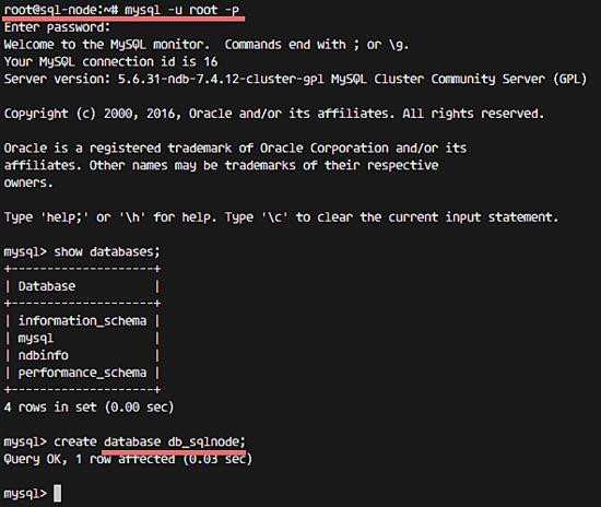 Создание тестовой базы данных в кластере