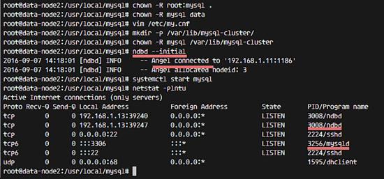 Старт MySQL на узле данных