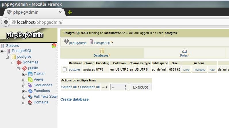 Установка PostgreSQL с PhpPgAdmin на Ubuntu 16.04