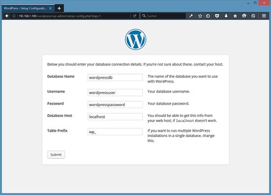 Введите данные в базе данных WordPress.