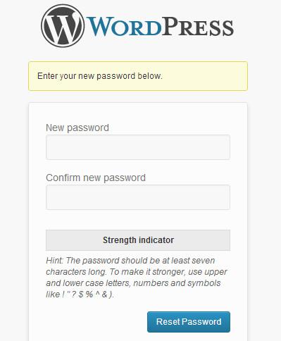 Введите новый пароль для вашей учетной записи в WordPress