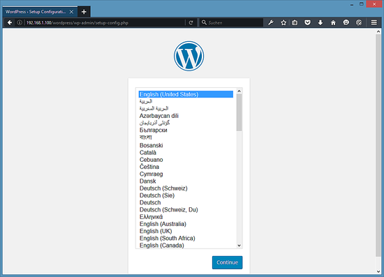 Выберите язык в WordPress