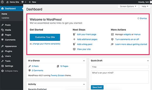 Добро пожаловать Панель в WordPress