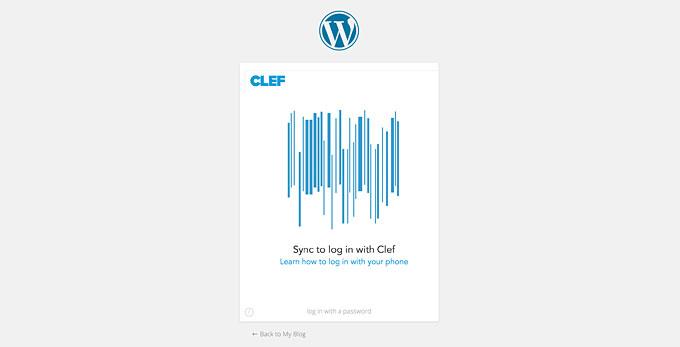 Экран входа в WordPress с помощью Clef