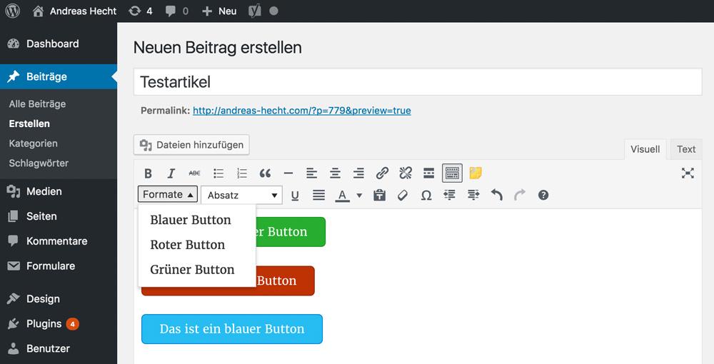 Новые кнопки в редакторе WordPress