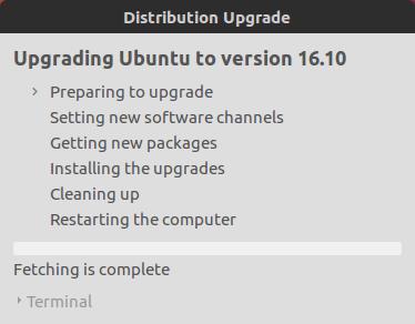 Обновление Ubuntu до версии Ubuntu 16.10