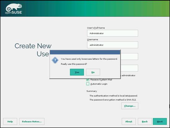 OpenSUSE. Создание администратора. Установка пароля