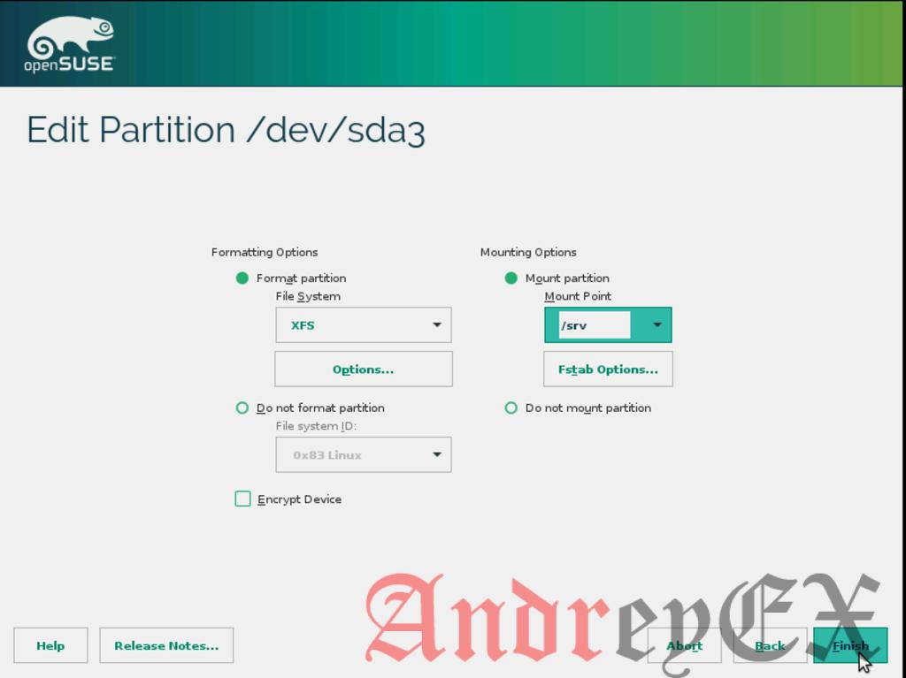 OpenSUSE. Точки монтирования