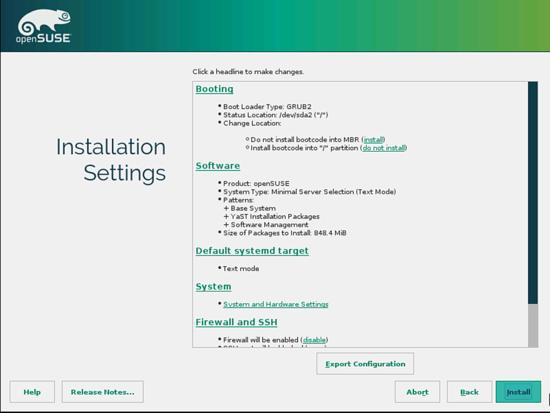OpenSUSE. Установка системы