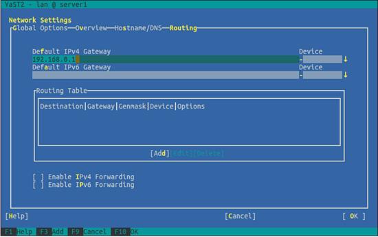 OpenSUSE. Выберите тип маршрутизации и шлюз