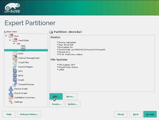 OpenSUSE. Выбор девайса