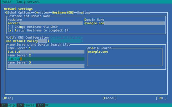 OpenSUSE. Выбор имени хоста и DNS