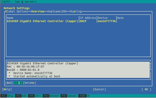 OpenSUSE. Выбор сетевой карты