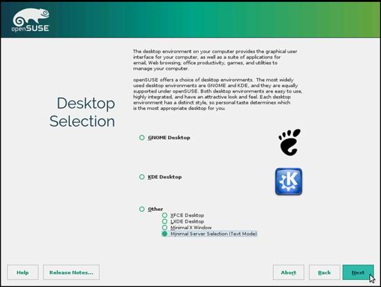 OpenSUSE. Выбор версии сервера