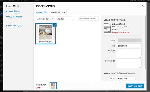 PDF Миниатюры в медиа загрузчике WordPress