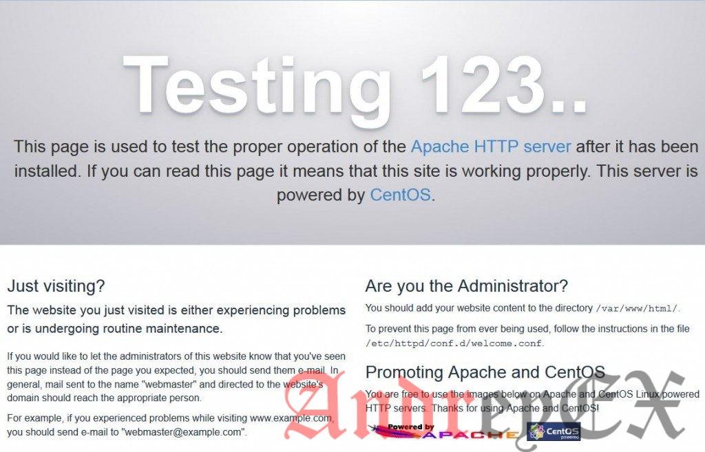 По умолчанию страница Apache в CentOS