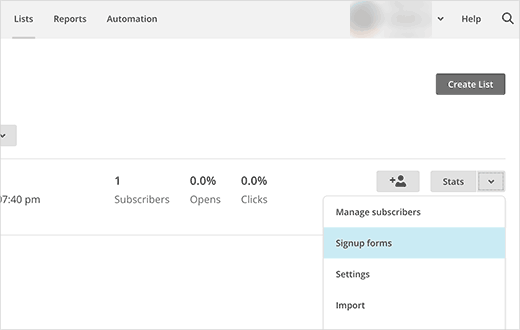 Получение формы регистрации кода от MailChimp