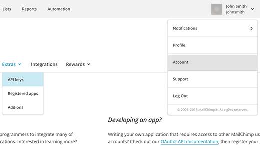 Получение ключей API для вашей учетной записи MailChimp