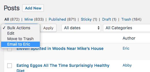 Пользовательские действия стали всплывающими в WordPress