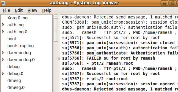 Пользовательский интерфейс Ubuntu System Log Viewer