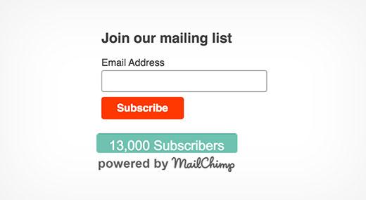 Предварительный просмотр плагина Mailchimp subscriber chiclet
