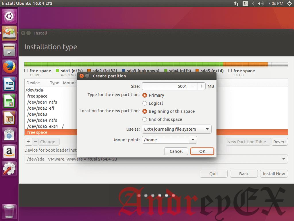 Создание домашнего раздела для Ubuntu 16.04