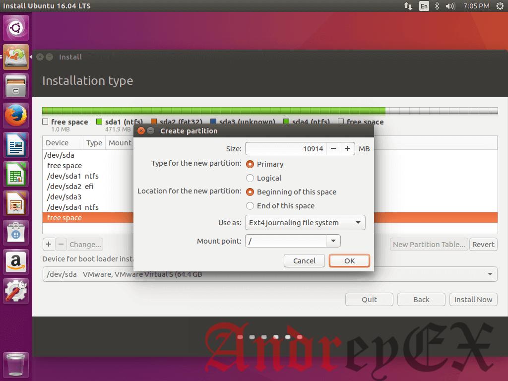 Создание корневого раздела для Ubuntu 16.04