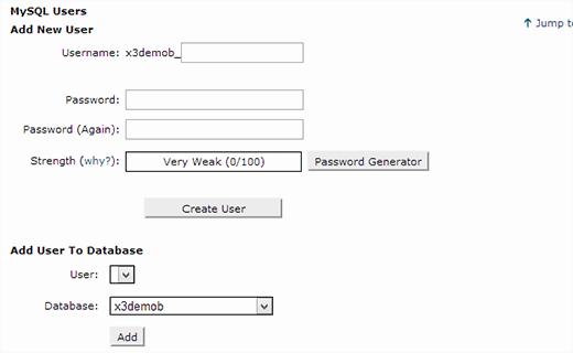 Создание нового пользователя MySQL или добавить существующего пользователя в базу данных