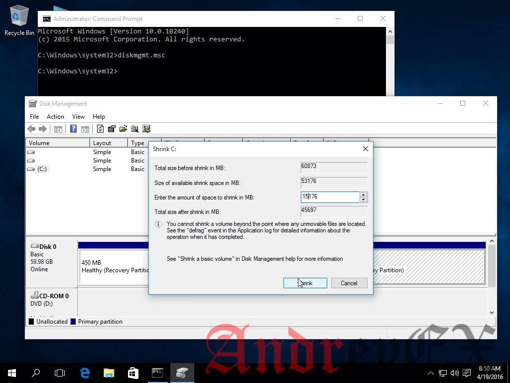 Создание разделов для Windows, Установка Ubuntu 16.04