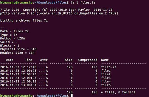 Список файлов из архива 7zip