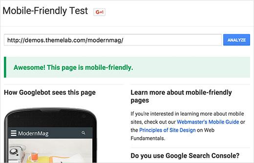 Тестирование чувствительной темы против Google Mobile-fiendly