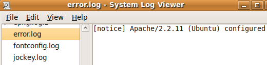 Ubuntu System Log Viewer показывает лог ошибок сервера Apache