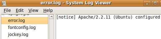 Ubuntu System Log Viewer показывает лог ошибок сервера Apache
