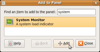Ubuntu при помощи поиска добавить в панель System Monitor