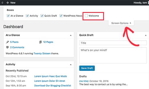 Удалить панель приветствия с помощью параметров экрана в WordPress