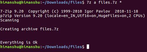 Упаковать файлы с 7zip