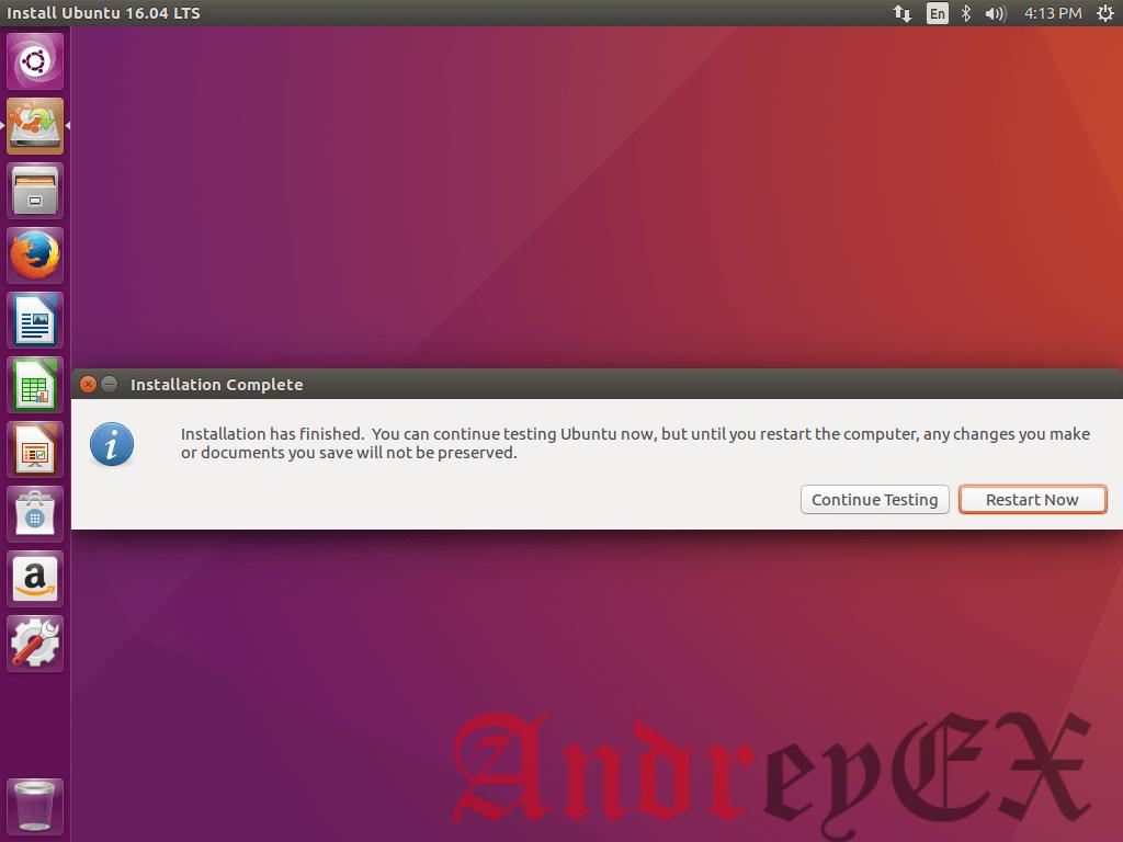 Установка Ubuntu 16.04 завершена