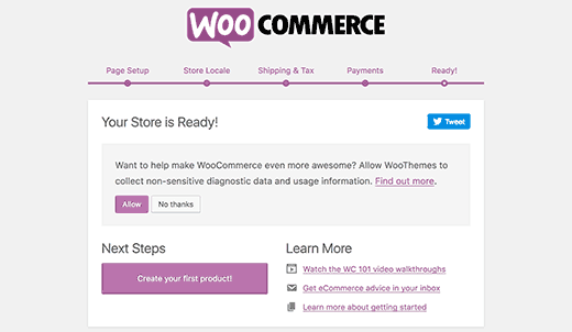 Установка WooCommerce закончена