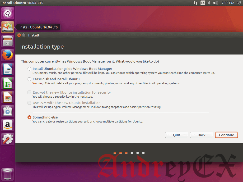 Выберите тип установки Ubuntu 16.04