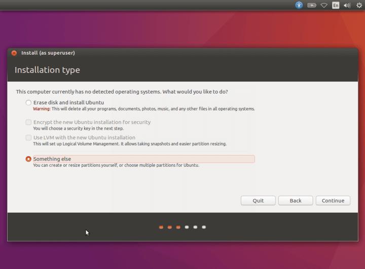 Выберите тип установки Ubuntu 16.10
