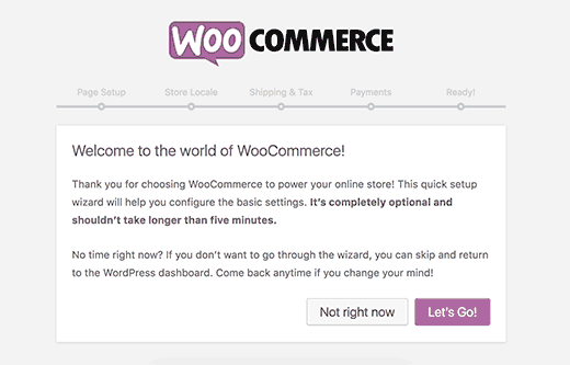 WooCommerce Мастер настройки шаг 1
