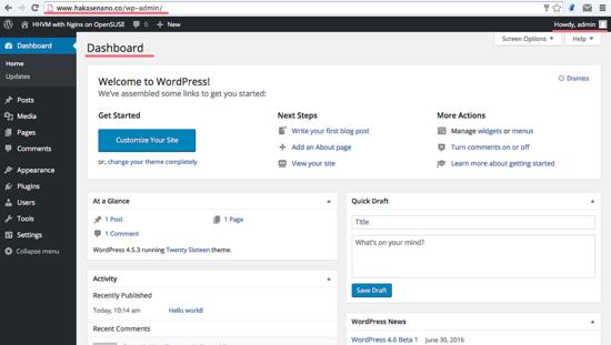 WordPress панель