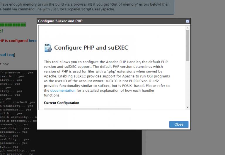 настройка PHP и suEXEC