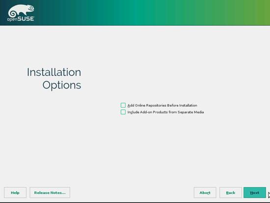 openSUSE. Опции установка