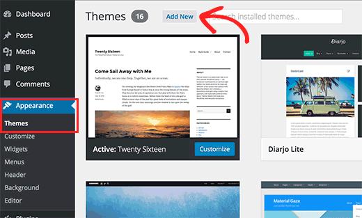 страница Темы в админке WordPress