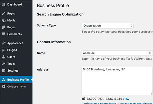 Настройки профиля Бизнес-страницы