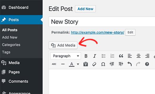 Добавить изображение в пост или страницу в WordPress