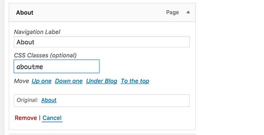 Добавление пользовательского класса CSS к пункту меню в WordPress