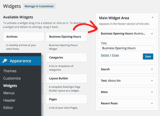Добавление виджета часов открытия в WordPress